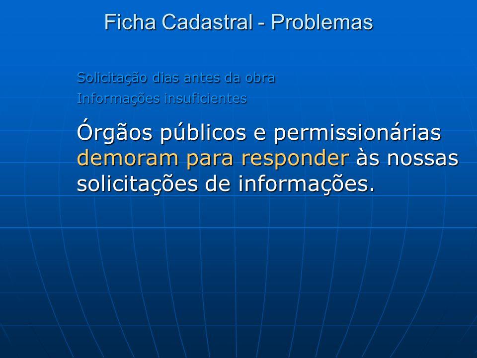 Solicitação dias antes da obra Informações insuficientes Órgãos públicos e permissionárias demoram para responder às nossas solicitações de informaçõe