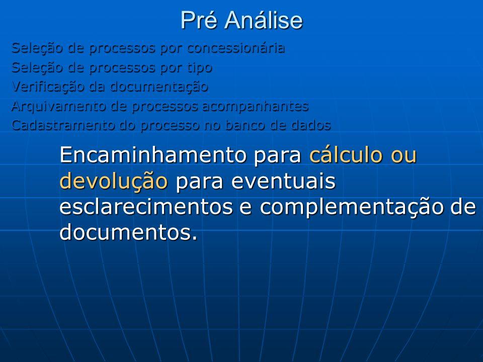 Pré Análise Seleção de processos por concessionária Seleção de processos por tipo Verificação da documentação Arquivamento de processos acompanhantes