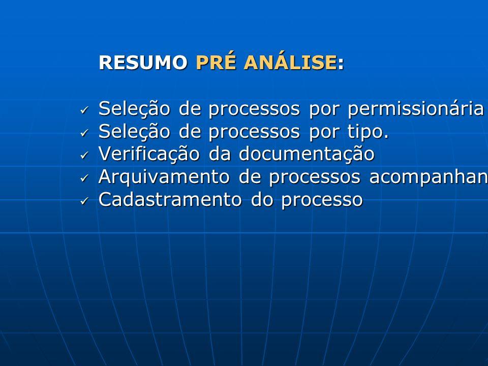 RESUMO PRÉ ANÁLISE: Seleção de processos por permissionária Seleção de processos por permissionária Seleção de processos por tipo. Seleção de processo