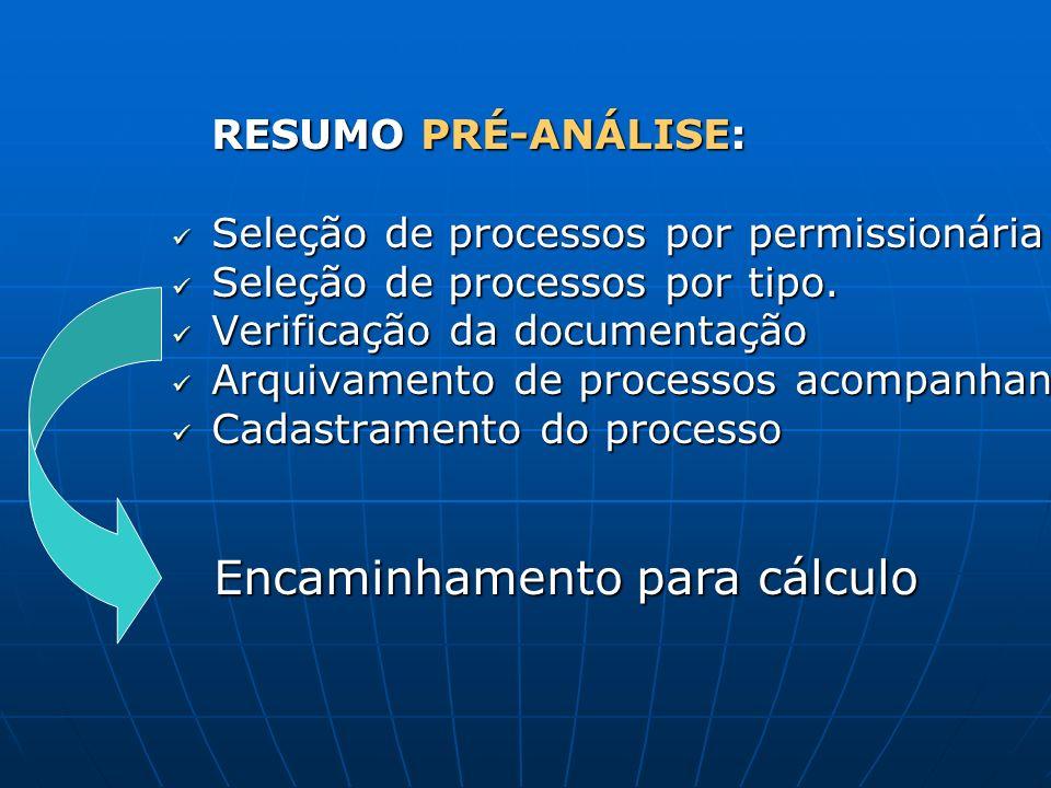 RESUMO PRÉ-ANÁLISE: Seleção de processos por permissionária Seleção de processos por permissionária Seleção de processos por tipo. Seleção de processo