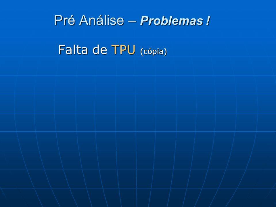 Pré Análise – Problemas ! Falta de TPU (cópia)
