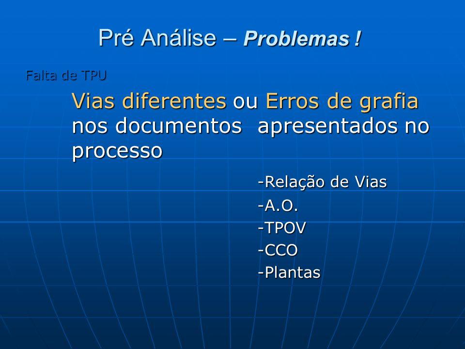 Pré Análise – Problemas ! Falta de TPU Vias diferentes ou Erros de grafia nos documentos apresentados no processo -Relação de Vias -A.O.-TPOV-CCO-Plan