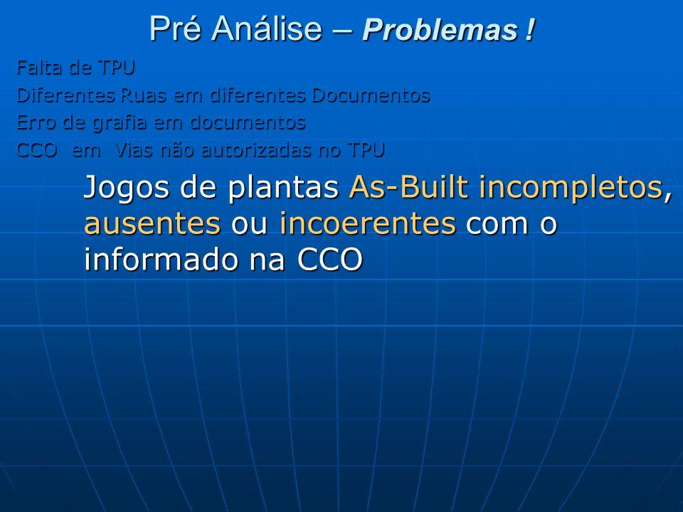 Pré Análise – Problemas ! Falta de TPU Diferentes Ruas em diferentes Documentos Erro de grafia em documentos CCO em Vias não autorizadas no TPU Jogos