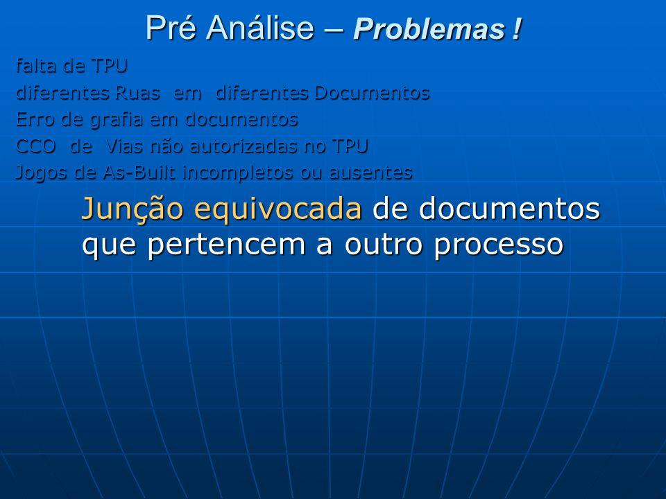 Pré Análise – Problemas ! falta de TPU diferentes Ruas em diferentes Documentos Erro de grafia em documentos CCO de Vias não autorizadas no TPU Jogos