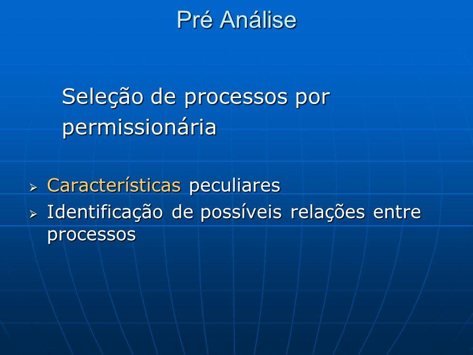 Pré Análise Seleção de processos por Seleção de processos por permissionária permissionária Características peculiares Características peculiares Iden