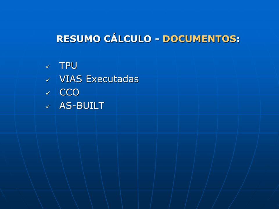 RESUMO CÁLCULO - DOCUMENTOS: TPU TPU VIAS Executadas VIAS Executadas CCO CCO AS-BUILT AS-BUILT