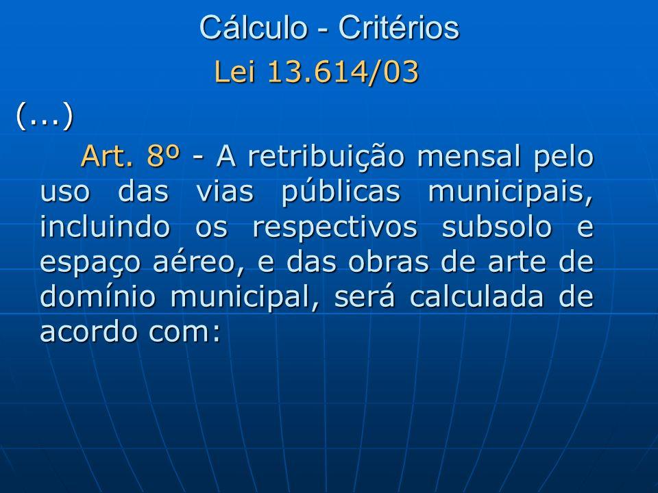 Cálculo - Critérios Lei 13.614/03 (...) Art. 8º - A retribuição mensal pelo uso das vias públicas municipais, incluindo os respectivos subsolo e espaç