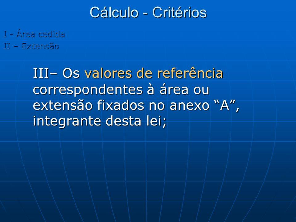 I - Área cedida II – Extensão III– Os valores de referência correspondentes à área ou extensão fixados no anexo A, integrante desta lei; Cálculo - Cri