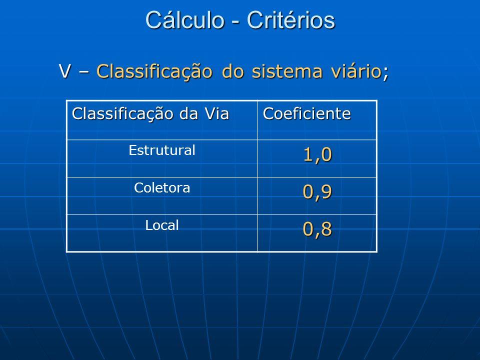 Cálculo - Critérios V – Classificação do sistema viário; Classificação da Via Coeficiente Estrutural1,0 Coletora0,9 Local0,8