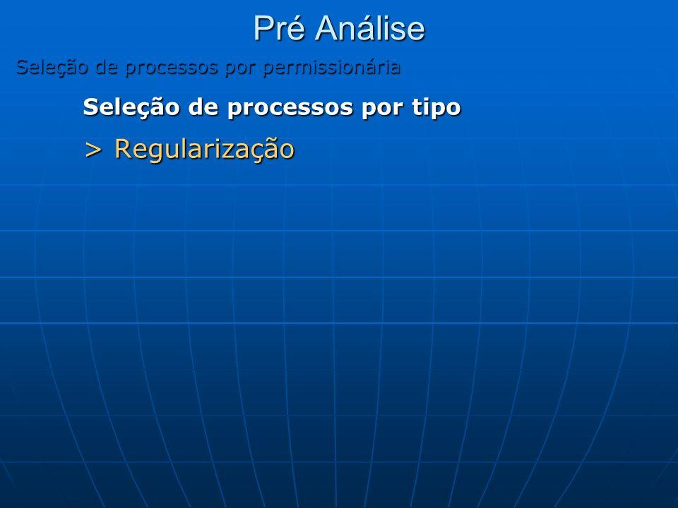 Pré Análise Seleção de processos por permissionária Seleção de processos por tipo > Regularização