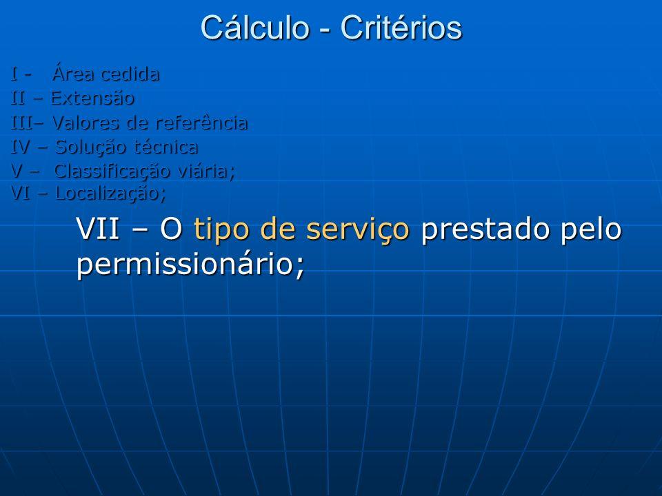 Cálculo - Critérios I - Área cedida II – Extensão III– Valores de referência IV – Solução técnica V – Classificação viária; VI – Localização; VII – O