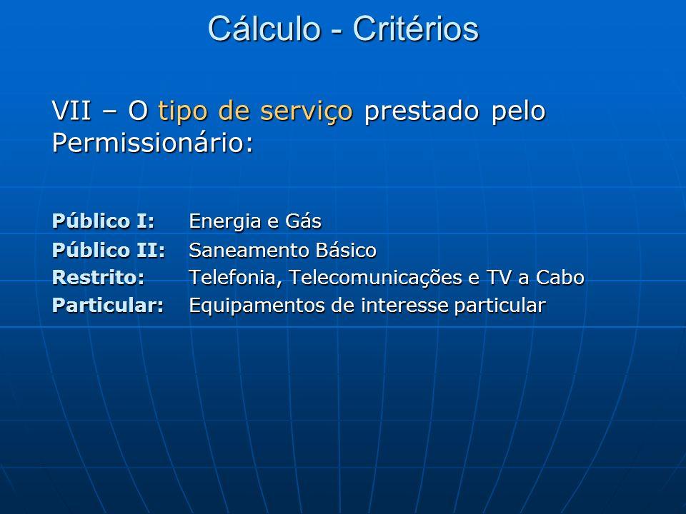 Cálculo - Critérios VII – O tipo de serviço prestado pelo Permissionário: Público I: Energia e Gás Público II: Saneamento Básico Restrito: Telefonia,