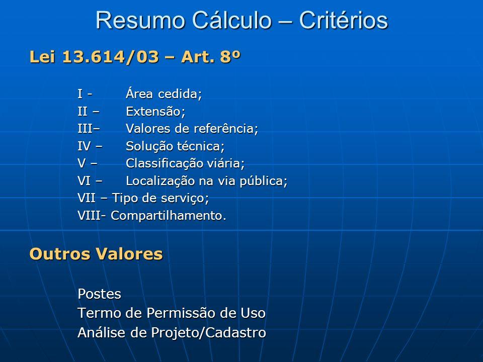 Resumo Cálculo – Critérios Lei 13.614/03 – Art. 8º I - Área cedida; II – Extensão; III– Valores de referência; IV – Solução técnica; V – Classificação