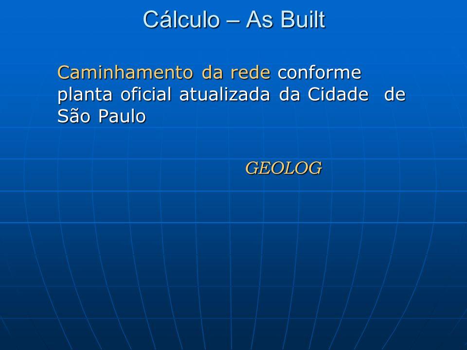 Cálculo – As Built Caminhamento da rede conforme planta oficial atualizada da Cidade de São Paulo GEOLOG