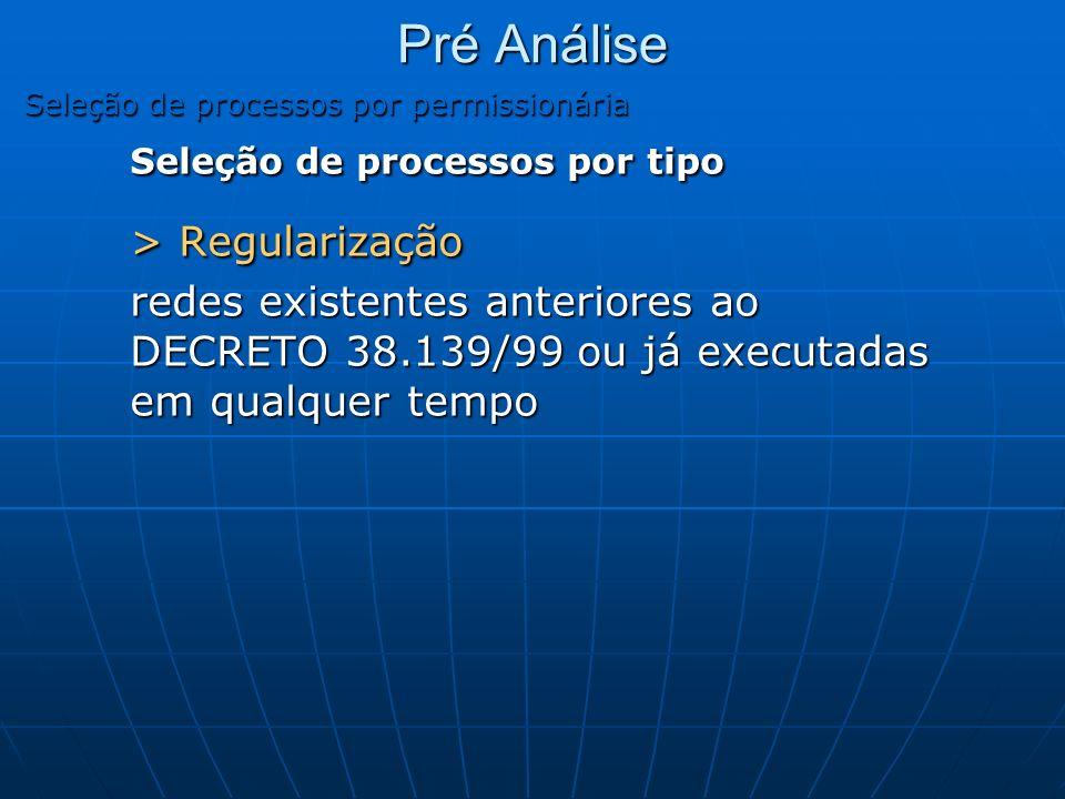Pré Análise Seleção de processos por permissionária Seleção de processos por tipo > Regularização redes existentes anteriores ao DECRETO 38.139/99 ou