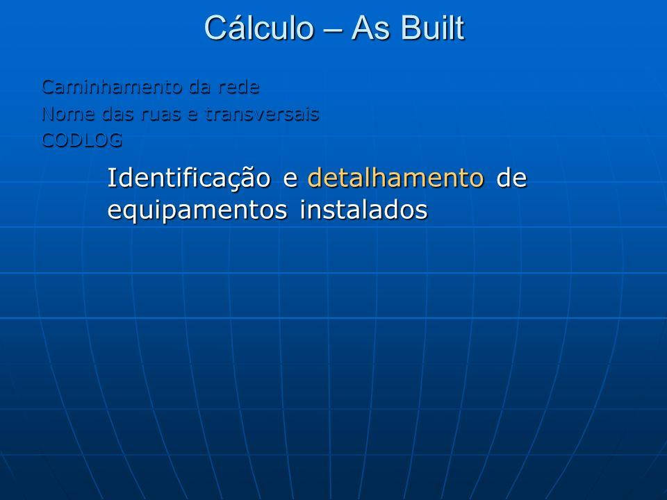 Cálculo – As Built Caminhamento da rede Nome das ruas e transversais CODLOG Identificação e detalhamento de equipamentos instalados