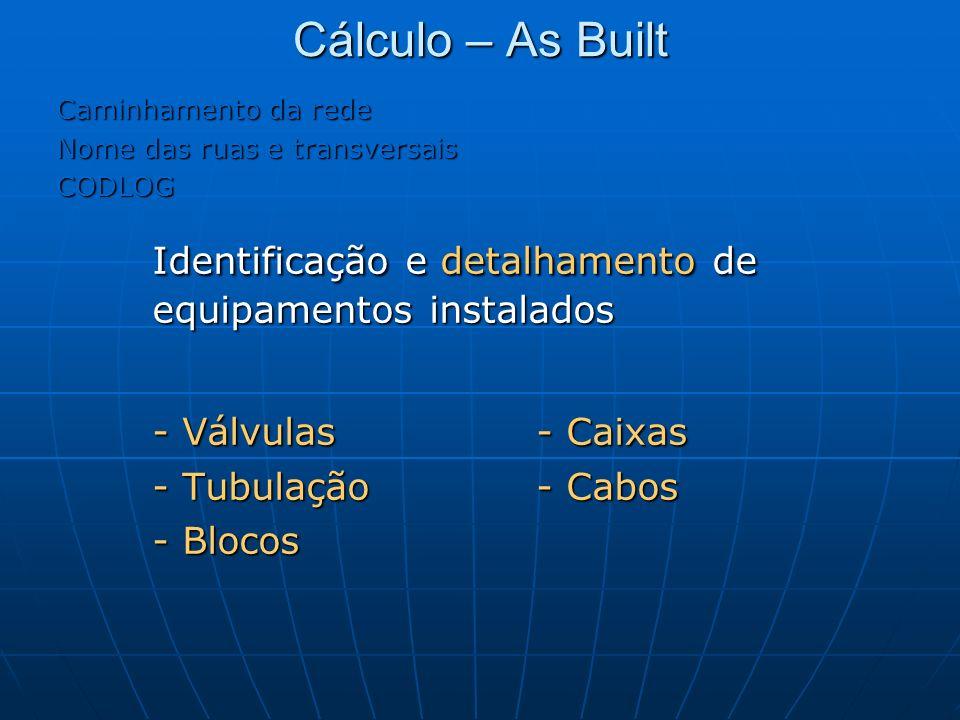 Cálculo – As Built Caminhamento da rede Nome das ruas e transversais CODLOG Identificação e detalhamento de equipamentos instalados - Válvulas- Caixas