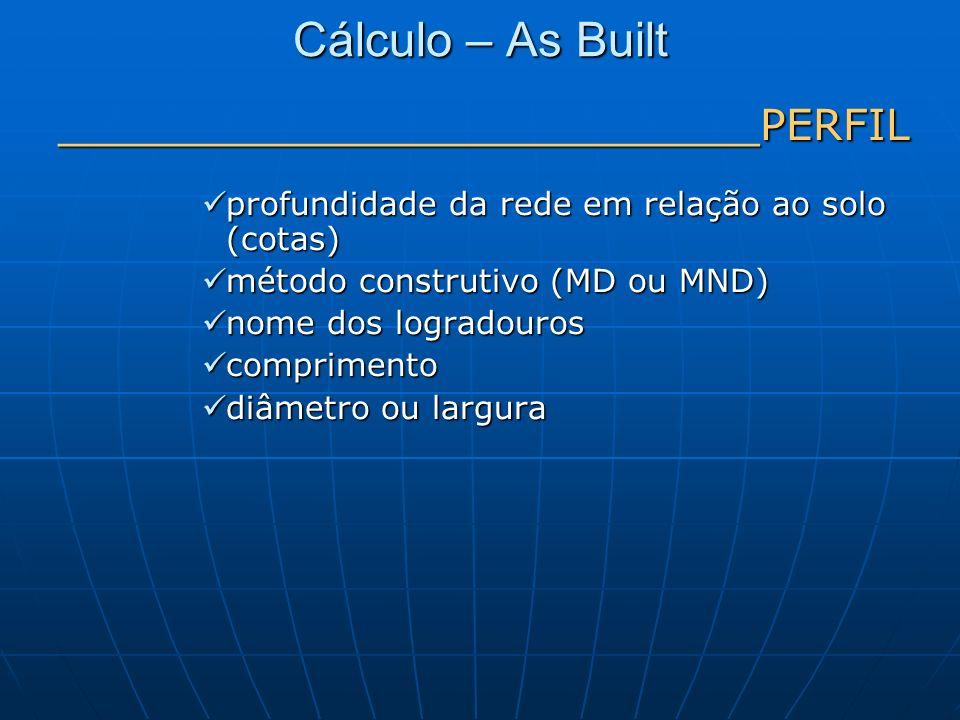 Cálculo – As Built __________________________PERFIL profundidade da rede em relação ao solo (cotas) profundidade da rede em relação ao solo (cotas) mé