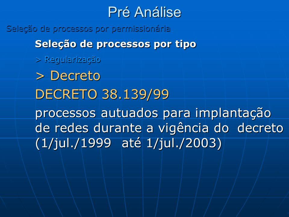 Pré Análise Seleção de processos por permissionária Seleção de processos por tipo > Regularização > Decreto DECRETO 38.139/99 processos autuados para