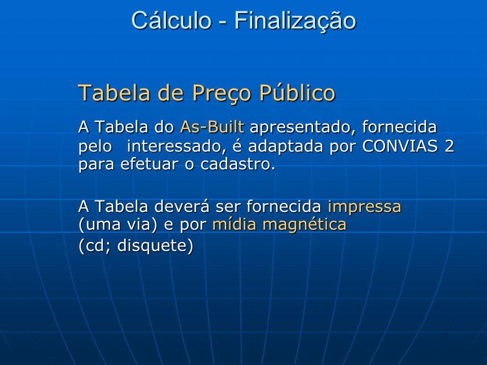 Cálculo - Finalização Tabela de Preço Público A Tabela do As-Built apresentado, fornecida pelo interessado, é adaptada por CONVIAS 2 para efetuar o ca