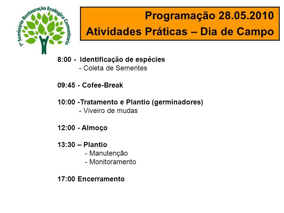 Programação 28.05.2010 Atividades Práticas – Dia de Campo 8:00 - Identificação de espécies - Coleta de Sementes 09:45 - Cofee-Break 10:00 -Tratamento