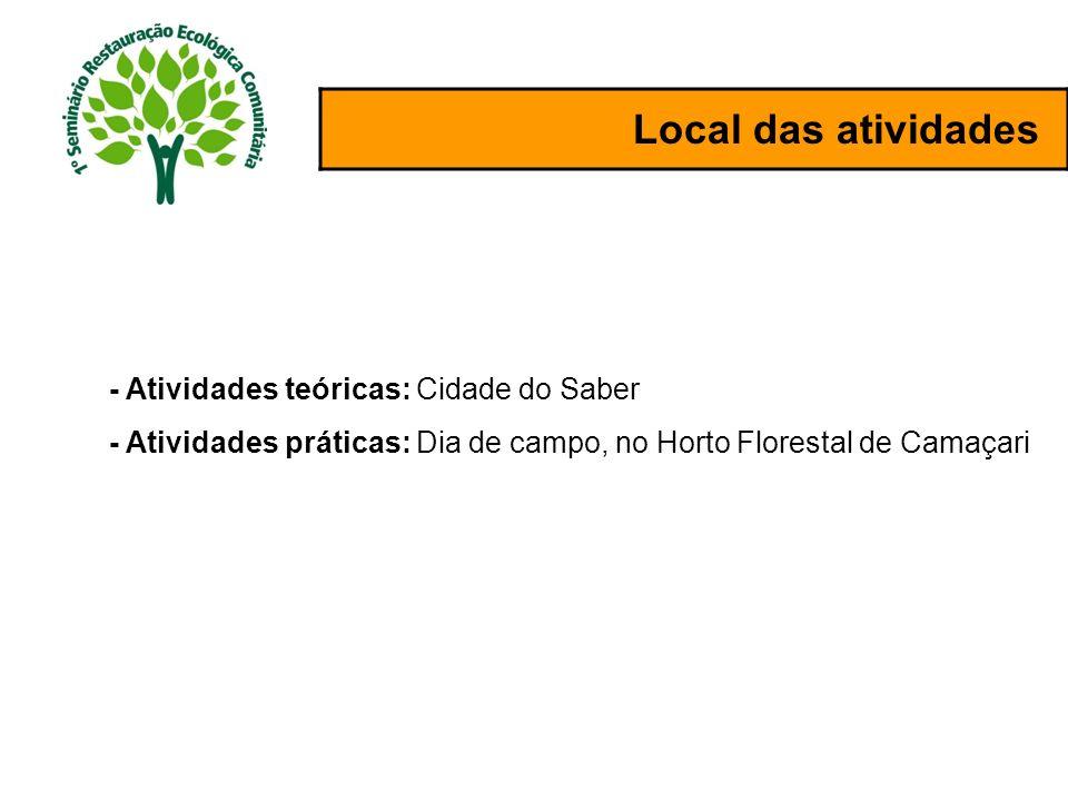 Local das atividades - Atividades teóricas: Cidade do Saber - Atividades práticas: Dia de campo, no Horto Florestal de Camaçari
