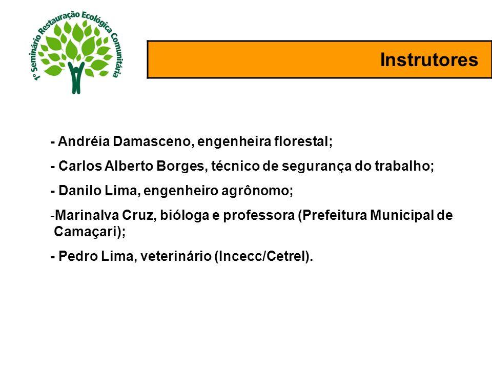 Instrutores - Andréia Damasceno, engenheira florestal; - Carlos Alberto Borges, técnico de segurança do trabalho; - Danilo Lima, engenheiro agrônomo;