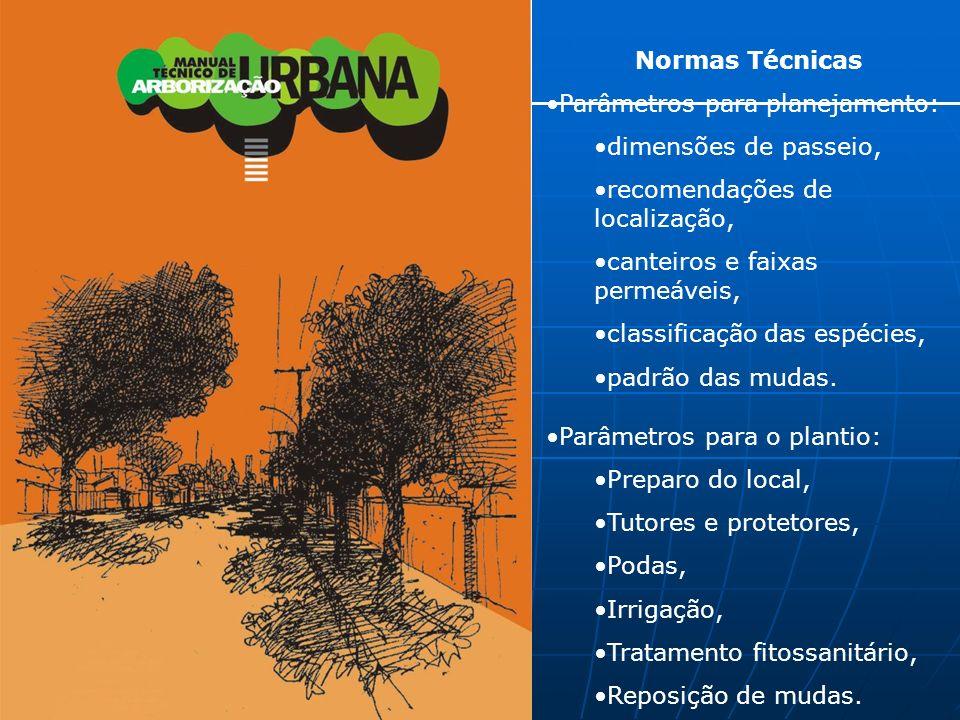 Normas Técnicas Parâmetros para planejamento: dimensões de passeio, recomendações de localização, canteiros e faixas permeáveis, classificação das espécies, padrão das mudas.