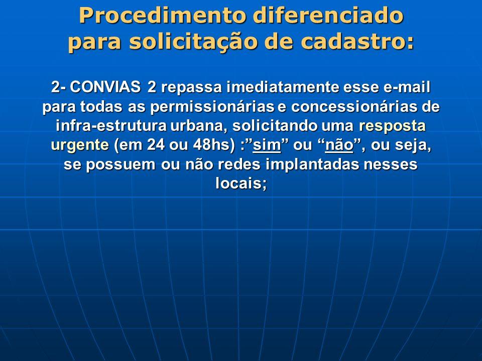 2- CONVIAS 2 repassa imediatamente esse e-mail para todas as permissionárias e concessionárias de infra-estrutura urbana, solicitando uma resposta urg