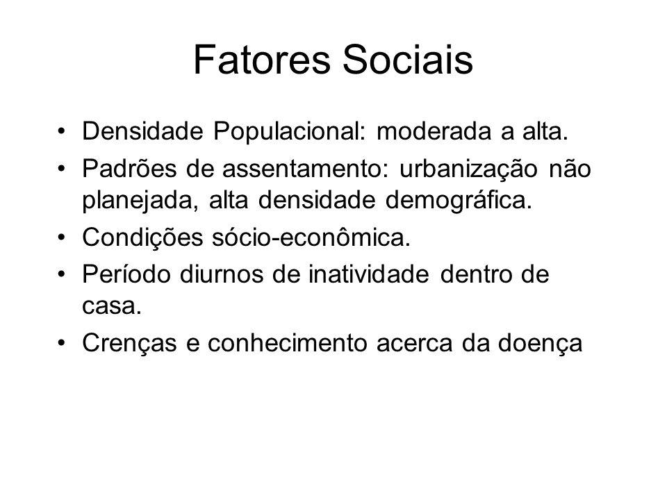 Fatores Sociais Densidade Populacional: moderada a alta. Padrões de assentamento: urbanização não planejada, alta densidade demográfica. Condições sóc