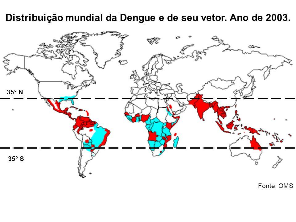 Distribuição mundial da Dengue e de seu vetor. Ano de 2003. Fonte: OMS 35° N 35° S