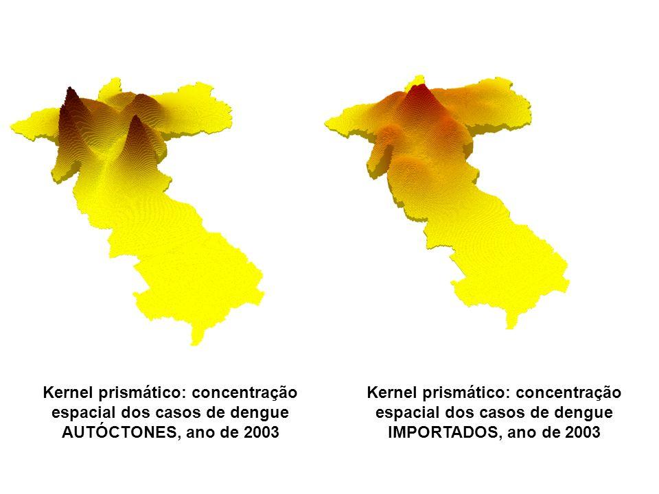 Kernel prismático: concentração espacial dos casos de dengue AUTÓCTONES, ano de 2003 Kernel prismático: concentração espacial dos casos de dengue IMPO