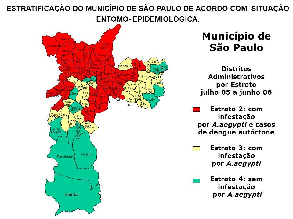 Município de São Paulo Distritos Administrativos por Estrato julho 05 a junho 06 Estrato 2: com infestação por A.aegypti e casos de dengue autóctone E