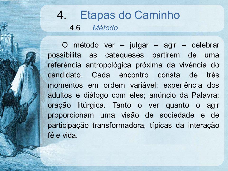 4.Etapas do Caminho 4.6Método O método ver – julgar – agir – celebrar possibilita as catequeses partirem de uma referência antropológica próxima da vi