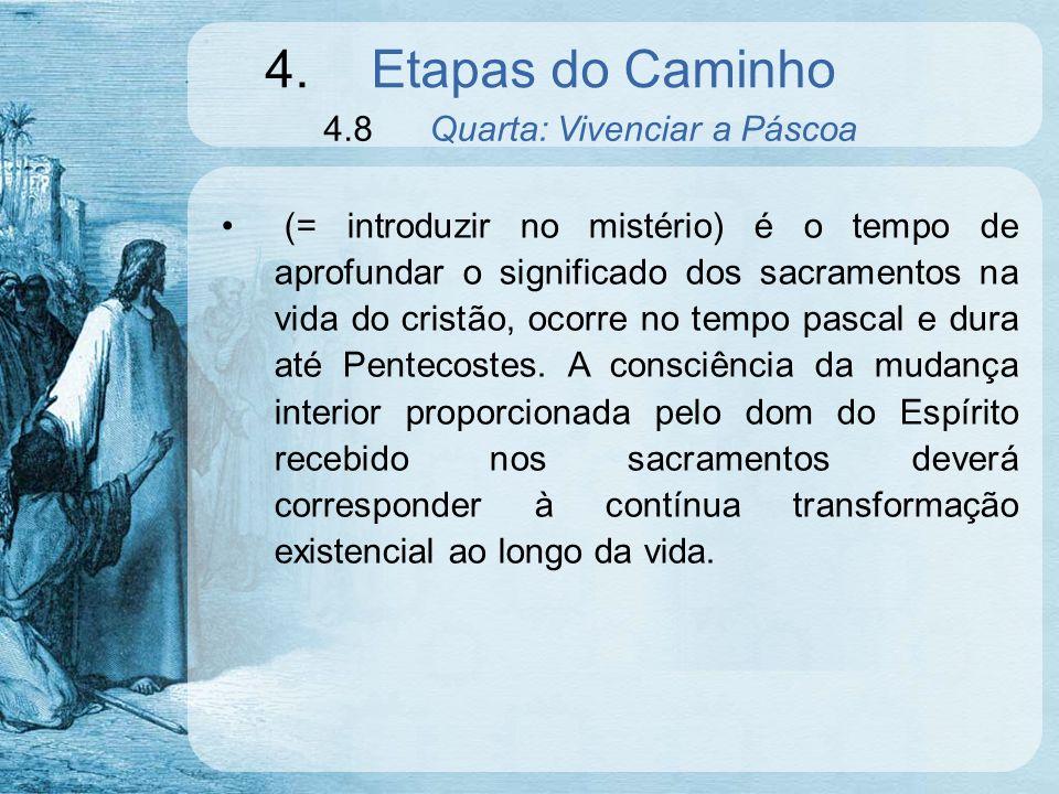 4.Etapas do Caminho 4.8Quarta: Vivenciar a Páscoa (= introduzir no mistério) é o tempo de aprofundar o significado dos sacramentos na vida do cristão,