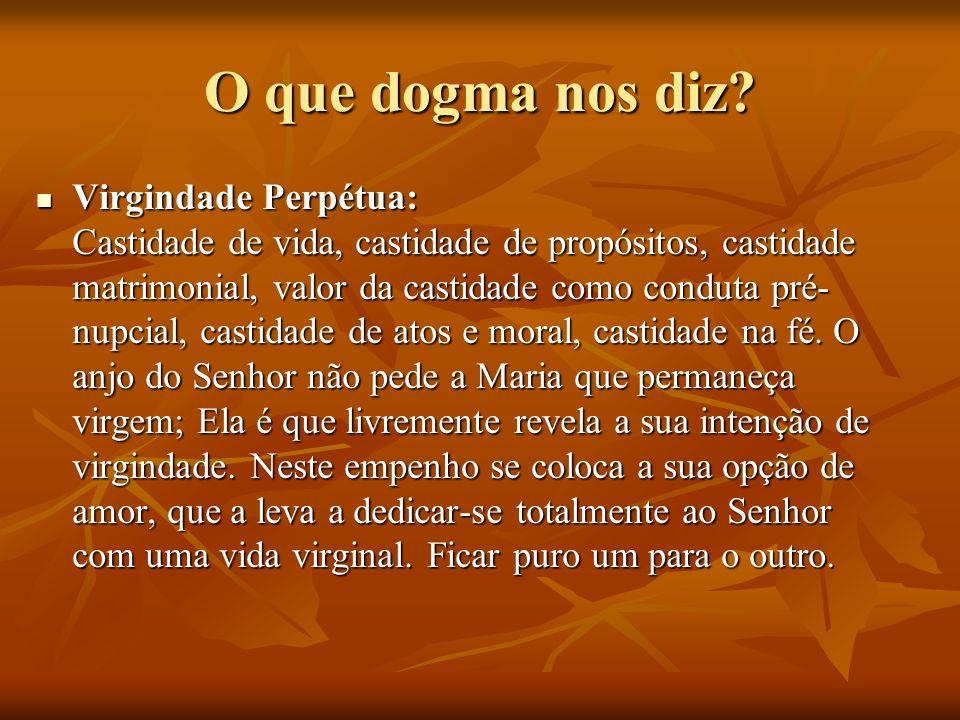 O que dogma nos diz? Virgindade Perpétua: Castidade de vida, castidade de propósitos, castidade matrimonial, valor da castidade como conduta pré- nupc
