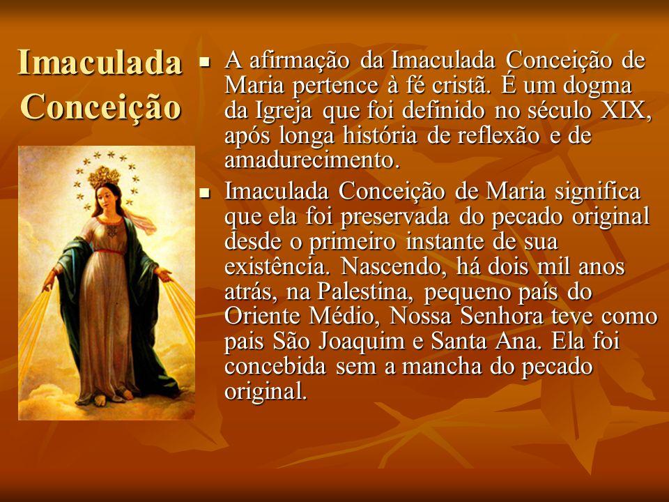 Imaculada Conceição A afirmação da Imaculada Conceição de Maria pertence à fé cristã. É um dogma da Igreja que foi definido no século XIX, após longa