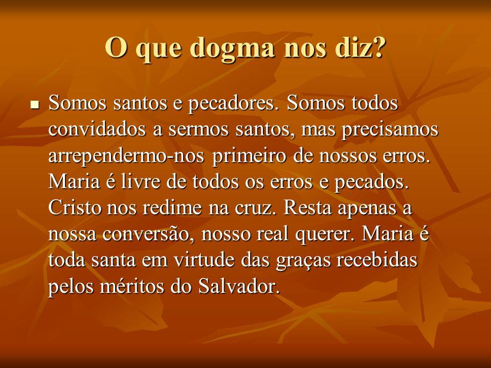 O que dogma nos diz? Somos santos e pecadores. Somos todos convidados a sermos santos, mas precisamos arrependermo-nos primeiro de nossos erros. Maria