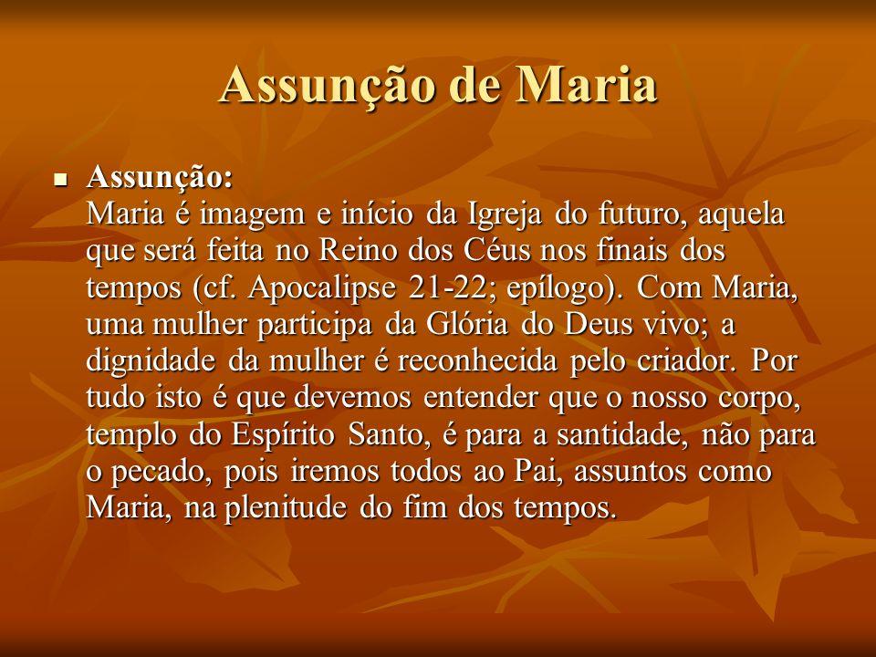 Assunção de Maria Assunção: Maria é imagem e início da Igreja do futuro, aquela que será feita no Reino dos Céus nos finais dos tempos (cf. Apocalipse