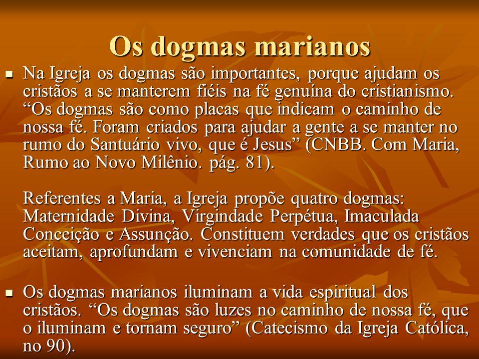 Os dogmas marianos Na Igreja os dogmas são importantes, porque ajudam os cristãos a se manterem fiéis na fé genuína do cristianismo. Os dogmas são com