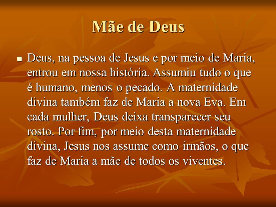 Mãe de Deus Deus, na pessoa de Jesus e por meio de Maria, entrou em nossa história. Assumiu tudo o que é humano, menos o pecado. A maternidade divina