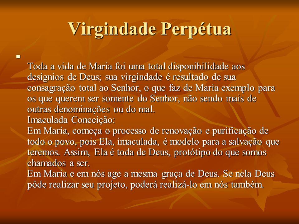 Virgindade Perpétua Toda a vida de Maria foi uma total disponibilidade aos desígnios de Deus; sua virgindade é resultado de sua consagração total ao S