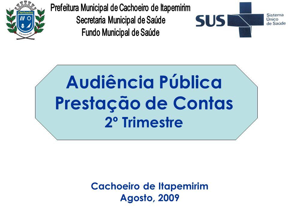 Cachoeiro de Itapemirim Agosto, 2009 Audiência Pública Prestação de Contas 2º Trimestre