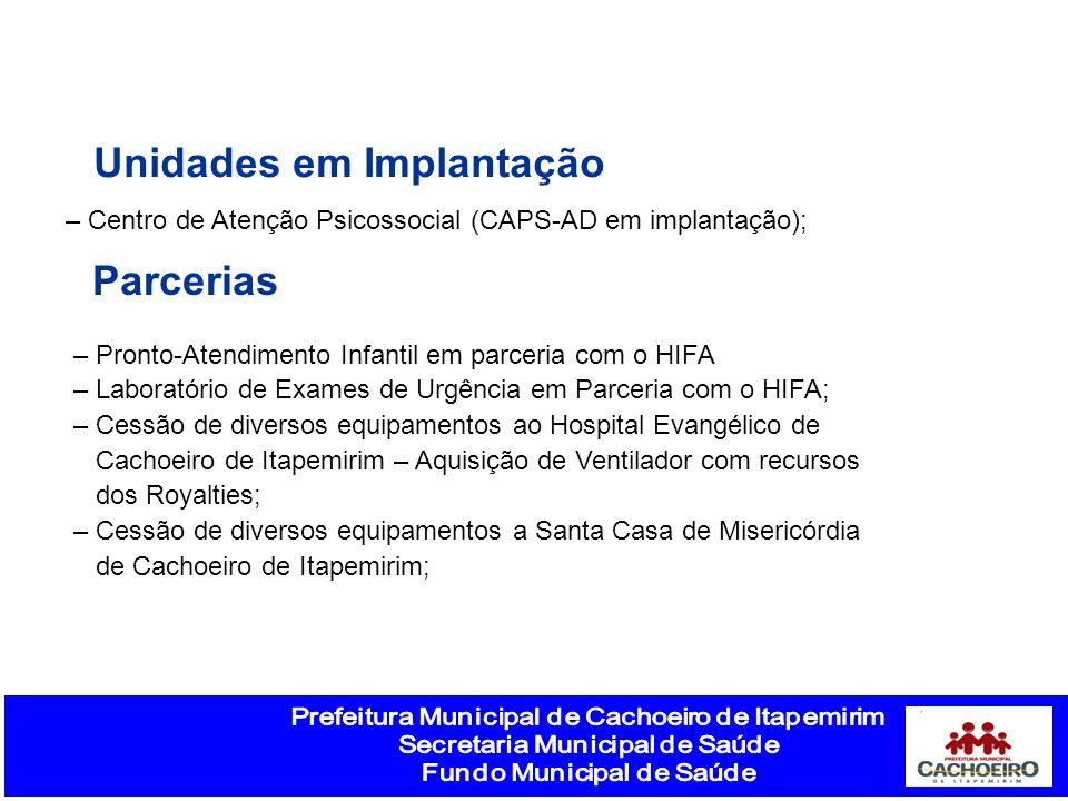 Unidades em Implantação – Centro de Atenção Psicossocial (CAPS-AD em implantação); – Pronto-Atendimento Infantil em parceria com o HIFA – Laboratório