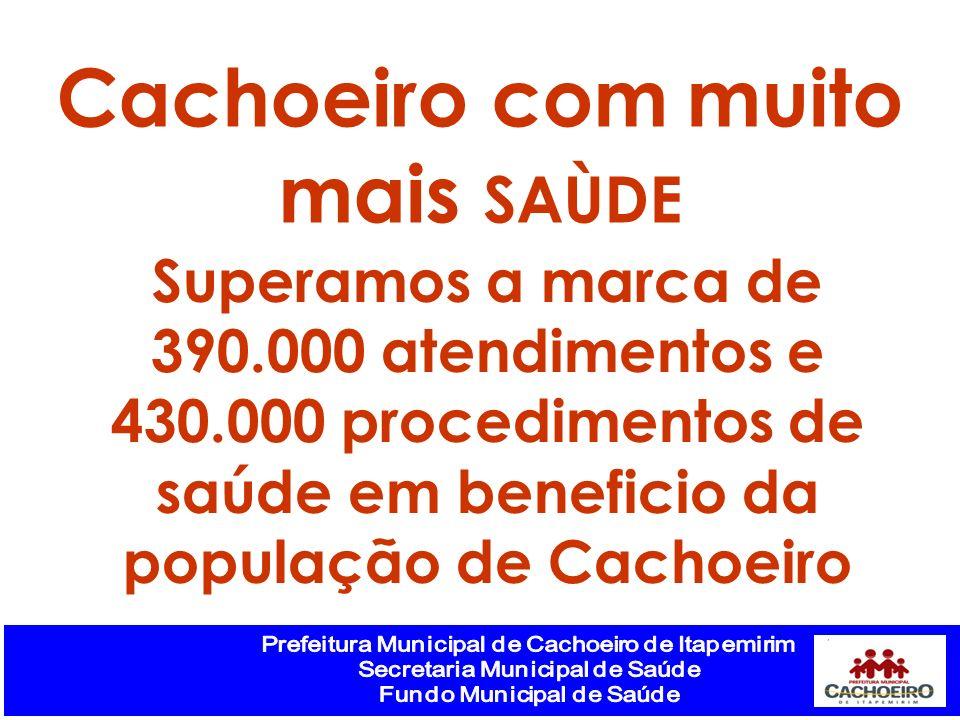 Superamos a marca de 390.000 atendimentos e 430.000 procedimentos de saúde em beneficio da população de Cachoeiro Cachoeiro com muito mais SAÙDE