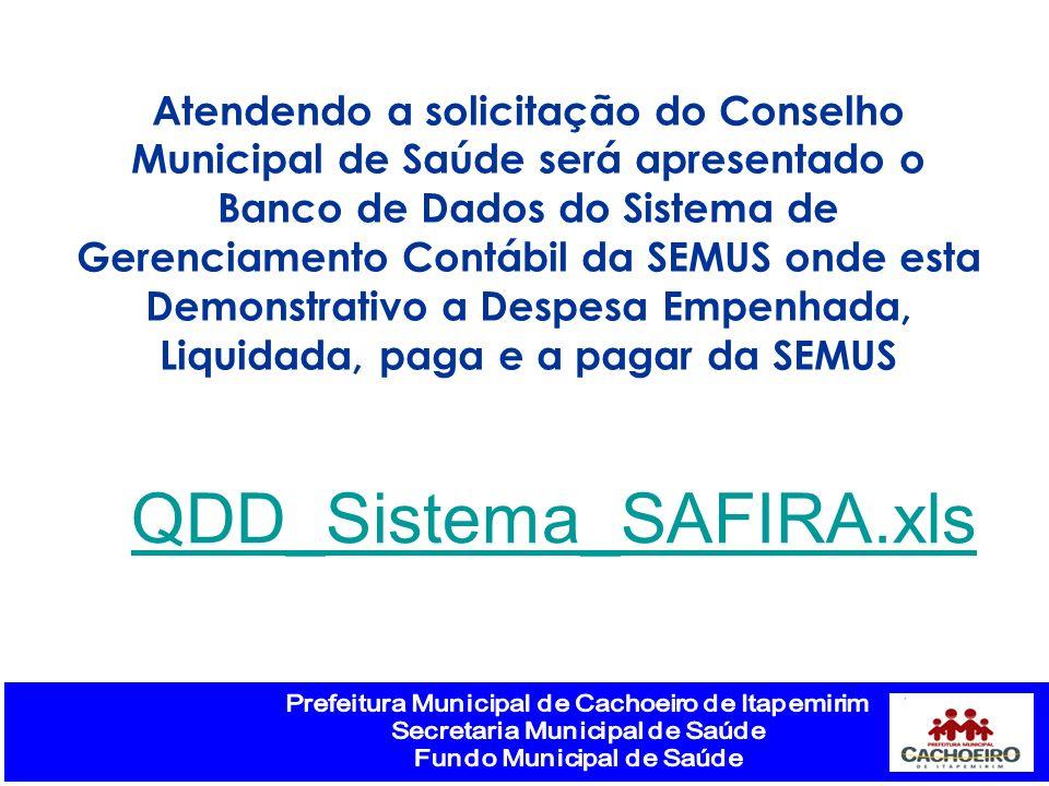 Atendendo a solicitação do Conselho Municipal de Saúde será apresentado o Banco de Dados do Sistema de Gerenciamento Contábil da SEMUS onde esta Demon