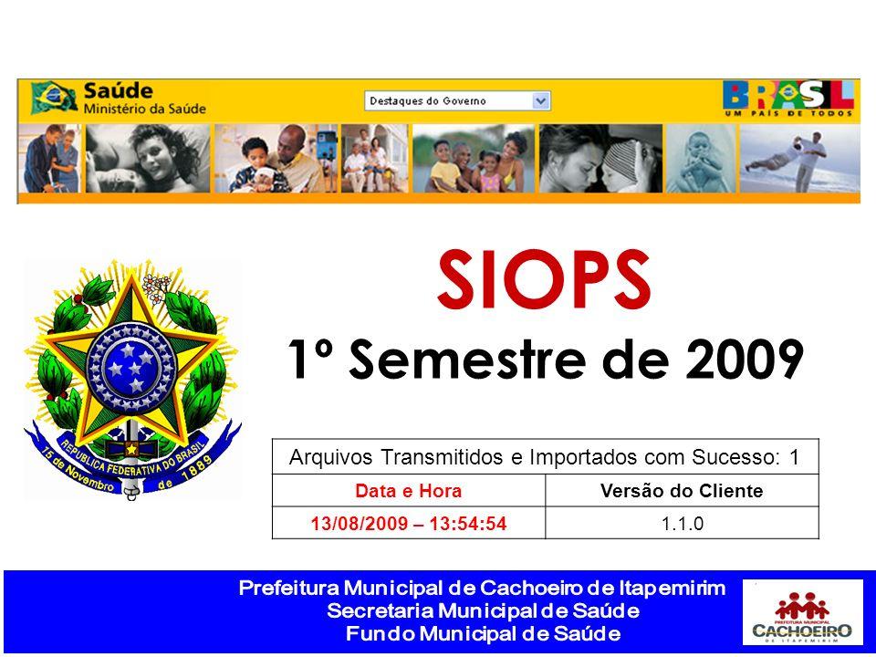 Arquivos Transmitidos e Importados com Sucesso: 1 Data e HoraVersão do Cliente 13/08/2009 – 13:54:541.1.0 SIOPS 1º Semestre de 2009