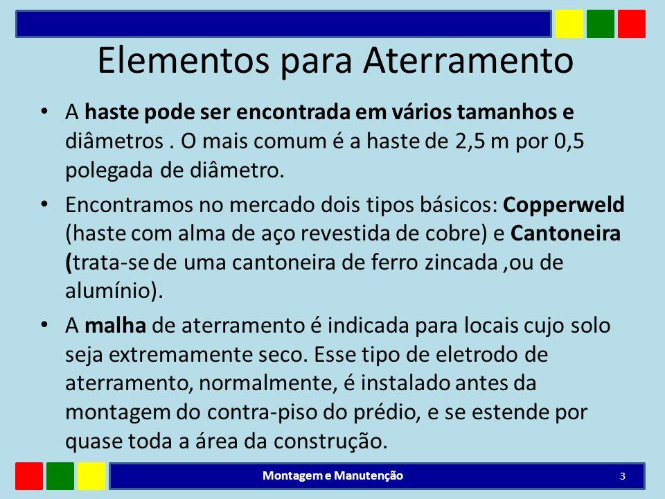Elementos para Aterramento A haste pode ser encontrada em vários tamanhos e diâmetros. O mais comum é a haste de 2,5 m por 0,5 polegada de diâmetro. E