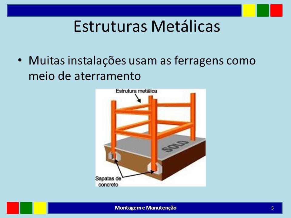Estruturas Metálicas Muitas instalações usam as ferragens como meio de aterramento Montagem e Manutenção 5