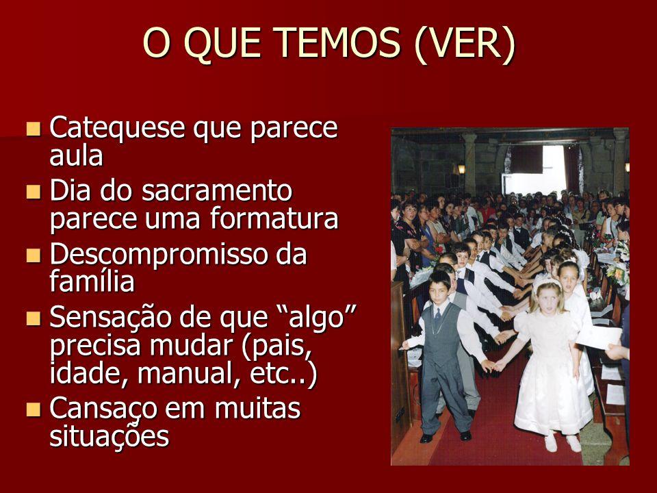 O QUE TEMOS (VER) Catequese que parece aula Catequese que parece aula Dia do sacramento parece uma formatura Dia do sacramento parece uma formatura De